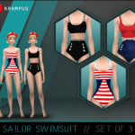 The Sims 4 sailor swimsuit set of 3 for women. … – SIMS 4 CUSTOM CONTENT