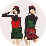SIMS4 marigold: bustier with pleats skirt one-piece_ bustier dress with pleated skirt A woman in costume _