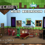 Minecraft Kids Bedroom Set (new meshes) | Sims 4 Designs