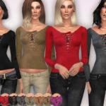 Harmonia's V-Neck Suedette Lace-Up Top