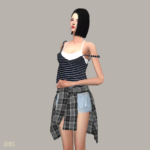 Double Free Sleeveless Unbalance Strap_ unbalanced strap sleeveless short free version _ A woman in costume – SIMS4 marigold