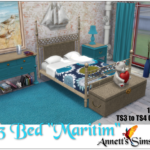 """TS3 to TS4 Bed """"Maritim"""" – Conversion by ChiLLi Sims – Recolors by Annett85"""