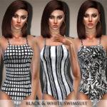 Black Lily's Black & White Swimsuit